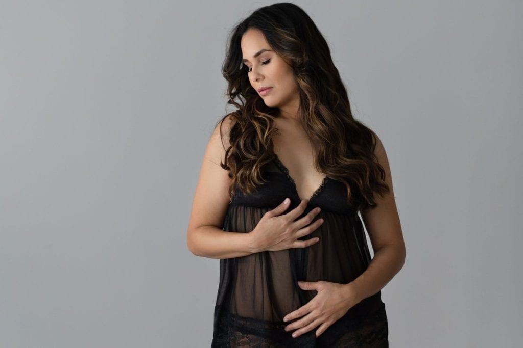 Photo of women wearing black lingerie